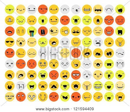 Great set of 99 color emotion isolated on white. Emoji