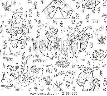 Animal Woodland Camping. Vector sketch illustration