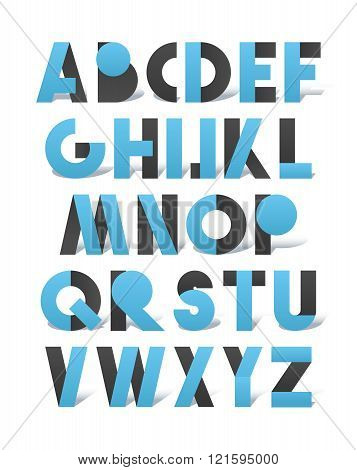 Retro font in blue and grey. Blue alphabet with shadow