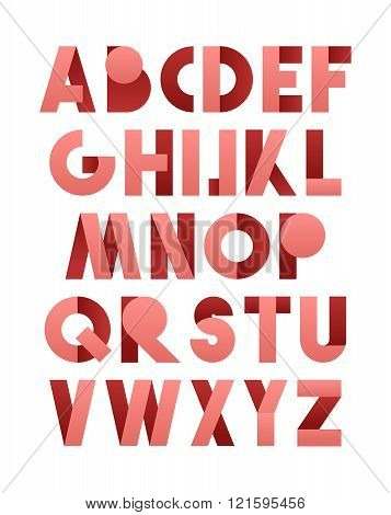 Retro font in pink. Pink alphabet. Realistic letters