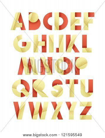 Retro font in red and yellow. Beige alphabet. Realistic letters