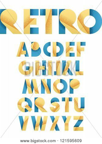 Retro font in blue and yellow. Beige alphabet. Realistic letters