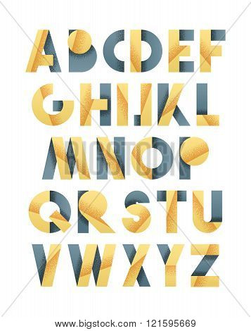 Retro font in grey and yellow. Beige alphabet. Realistic letters