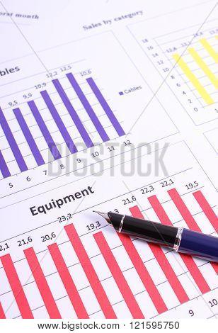 Pen On Financial Graph, Business Concept