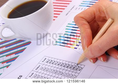Analysis Of Sales Plan, Cup Of Coffee On Financial Graph, Business Concept