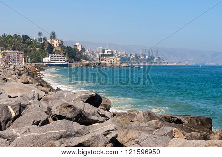 Vina del Mar Chile - December 3 2012: View on the Pacific Ocean coastline of Vina del Mar Valparaiso Region in Chile.