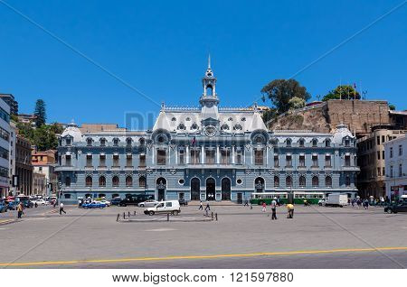 Valparaiso Chile - December 3 2012: Spectacular Navy Building in Plaza de Armas Valparaiso Chile. The building is located in a huge square near by Pacific Ocean.