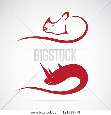 Vector Image Of Rhino And Rhinoceros Design On White Background