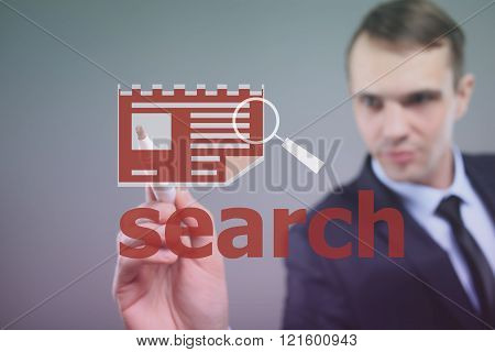 businessman busy searching profiles