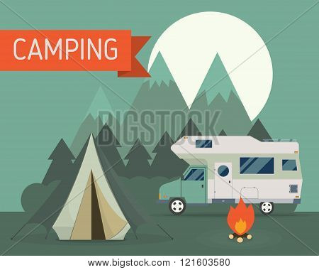 Mountain Park Camping With Rv Traveler Truck