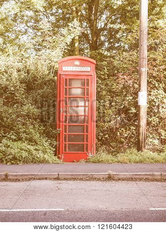 Red Phone Box In London Vintage