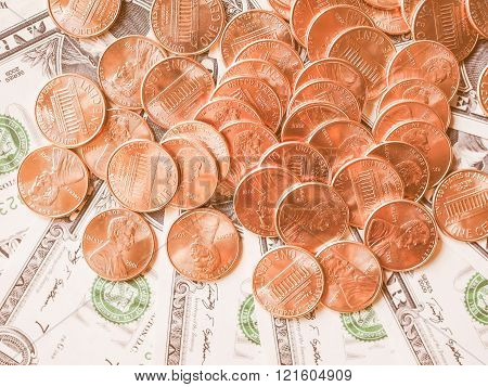 Dollar Coins And Notes Vintage