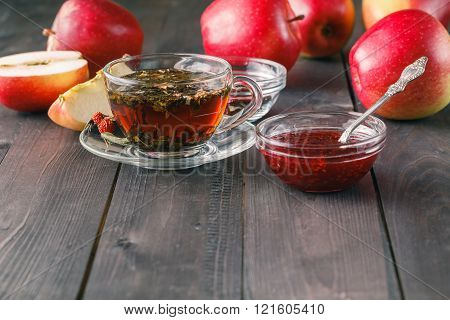 Closeup View Of Raspberry Jam And Herbal Tea