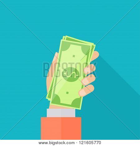 Bonus Money In Hand Illustration