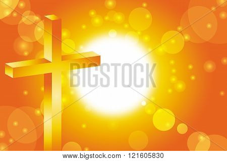 easter jesus cross christian in front of abstract orange sunset background vector illustration 3