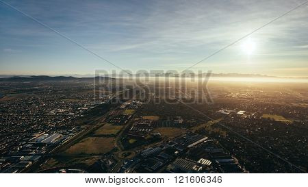 Aerial View Of City Of Cape Town On A Sunny Day