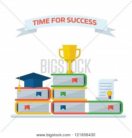 Graduation Awards Book Steps Pedestal Concept
