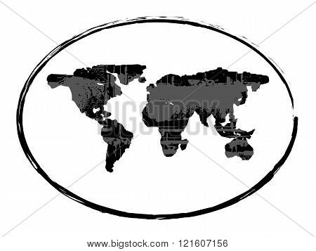 black grunge earth map stamp style symbol isolated on white background vector illustration 1