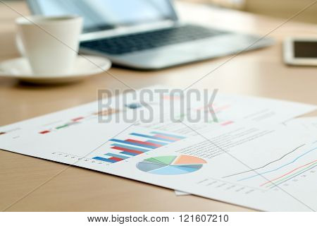 Colorful Graphs Charts Marketing Research And Business Annual Report Background