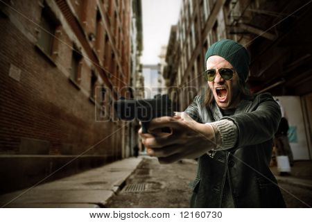 Man with gun shouting