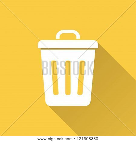 Bin vector icon with long shadow. Illustration for graphic and web design.