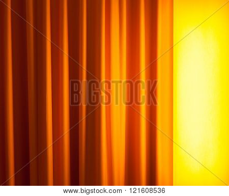 Floor Lamp On The Left Ahead Curtain
