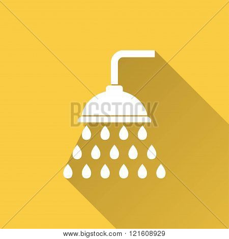 Shower vector icon with long shadow. Illustration for graphic and web design.