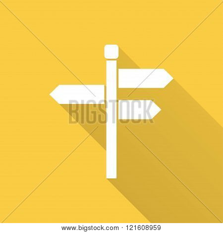 Signpost vector icon with long shadow. Illustration for graphic and web design.