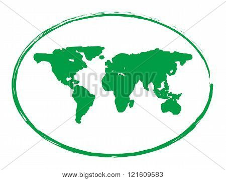 green grunge earth map stamp style symbol isolated on white background vector illustration 1