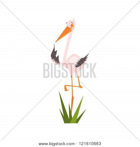 Stork Standing On One Leg Flat Cartoon