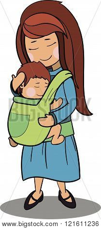 Mother And A Baby Vector Cartoon Characters.
