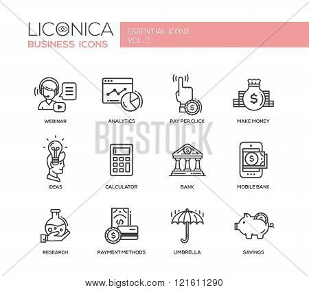 Set of modern vector finance simple thin line flat design icons and pictograms. Analytics, pay per click, make money, calculator, bank, mobile bank, payment methods, insurance, savings, webinar, ideas, research