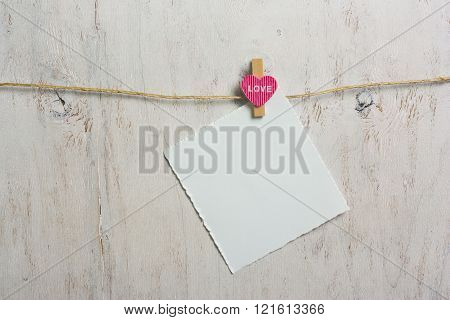 Note Attached Pink Heart