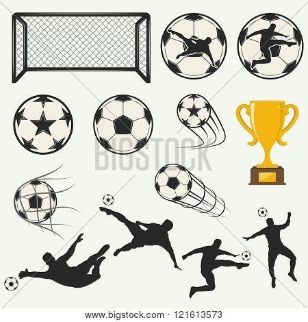 various isolated poses of soccer players in silhouettes