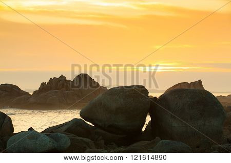 Sunset on Con Negro coast in Galicia, Spain