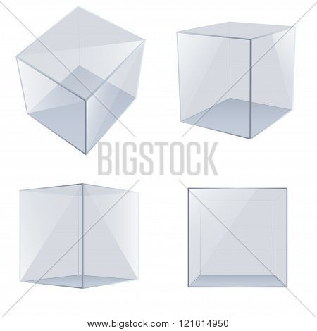 Four transparent glass cubes. Vector Illustration .