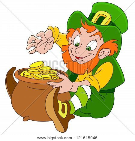 Cute Cartoon Leprechaun On St. Patrick's Day