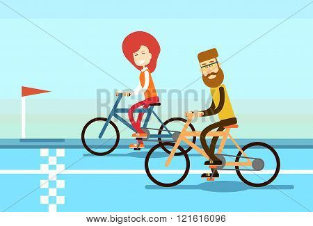 Couple Man Woman Ride Bicycle Race Road