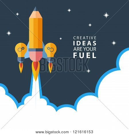 Creative ideas are your fuel. Rocket launch. Flat design colorful vector illustration.