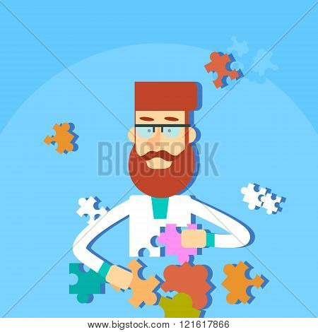 Man Solving Puzzle Task Flat Vector