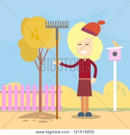 Woman Hold Rake Autumn Work In Garden