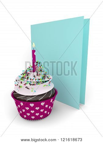 3D Sweet Cupcake With Greetings Card Isolated On White
