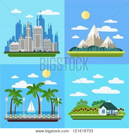 Set Of Landscapes - Megapolis, Mountains, Seaside Promenade And Village