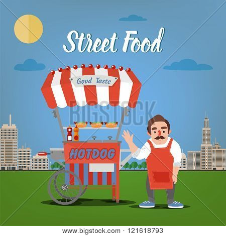 Street Food Concept With Burger Food Truck And Seller In The Megapolis