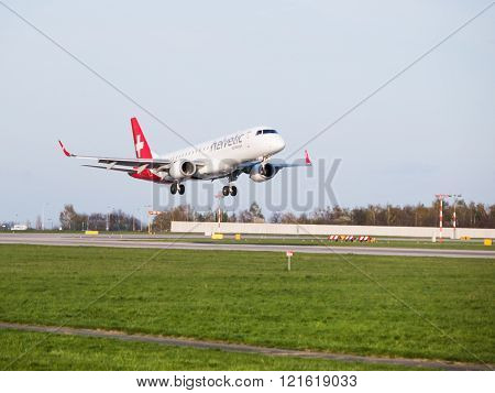 Helvetic Airways Embraer 190 landing at Prague Airport
