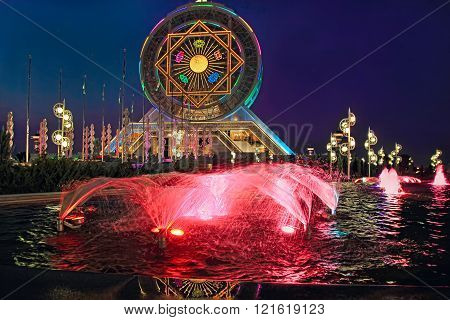 Ashgabat Turkmenistan - October 14 2015. Ferris wheel on the background of night sky. Ferris entered the Guinness Book of Records. Ashgabat Turkmenistan - October 14 2015.