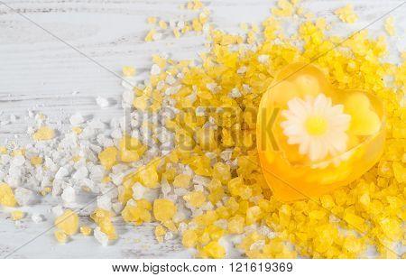 Handmade Soap With With Herbs And Bath Salt