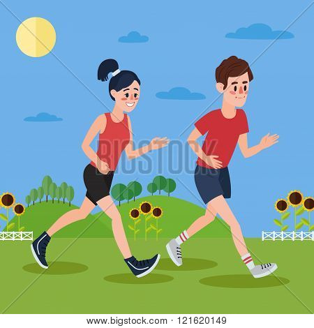 Man And Woman Running In The Hills And Sunflowers