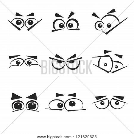 Set of eye emotions, isolated on the white background.