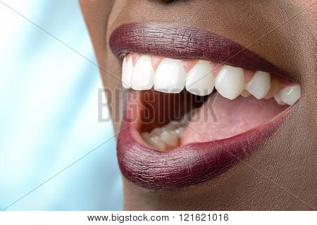 Perfect Teeth Of African Woman.